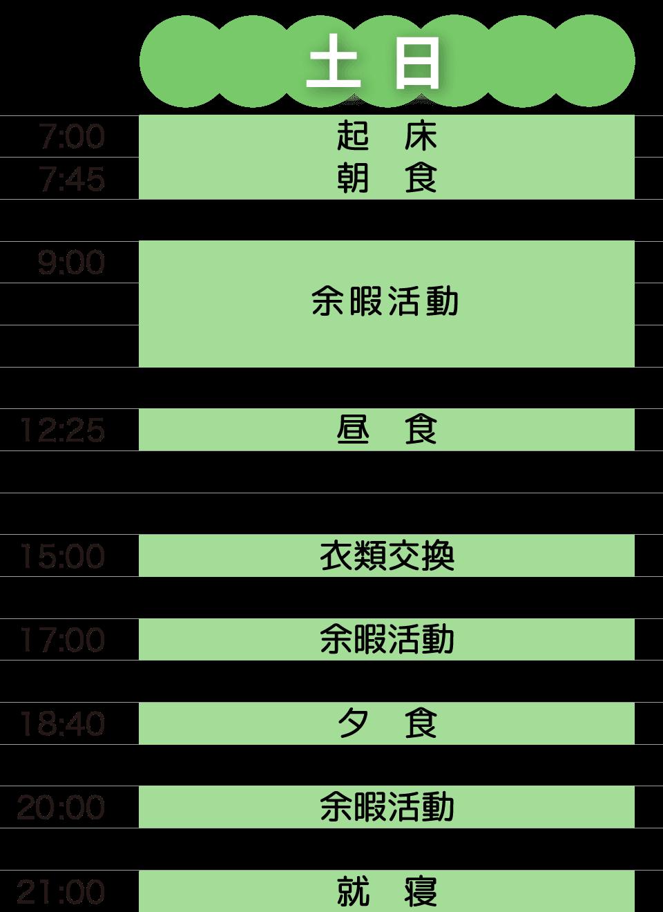 すみよしの里 日課(土日)